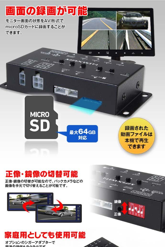 1つのモニターで4カメラ映像同時に見れる映像分割器