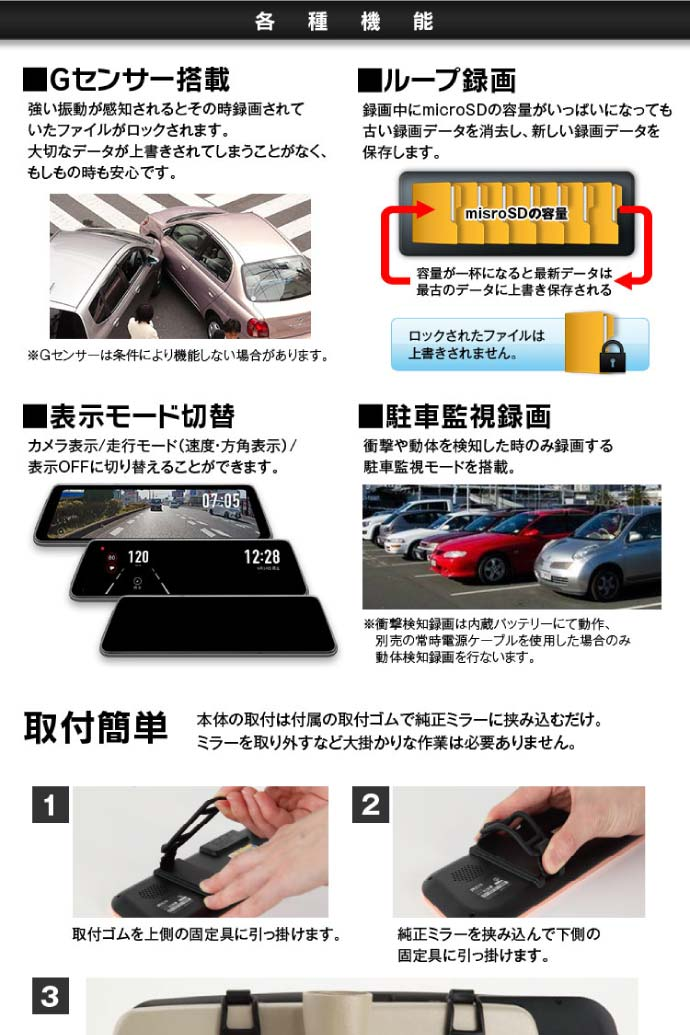デジタルルームミラー ドライブレコーダー
