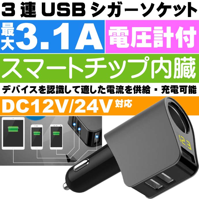 シガーチャージャー USB電源付シガーソケット PCA21