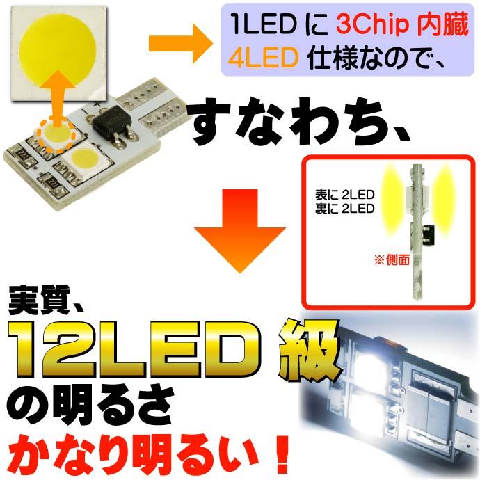 4連キャンセラー付LEDバルブT10ホワイト 3ChipSMD