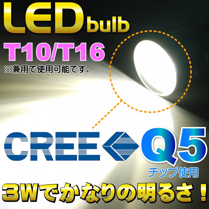 CREE Q5 T10/T16 3WLEDバルブプロジェクターホワイト